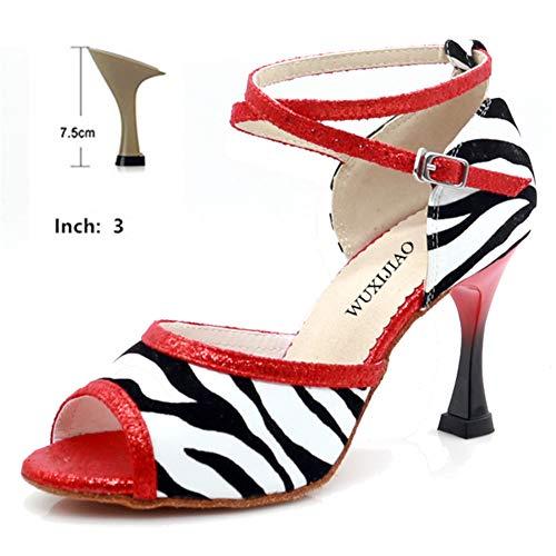 Dames Dans Schoenen Jazz Sneakers Hoge Hak 7.5/9 cm Dans Schoenen met Strass Latin Dance Schoenen Suede Zool