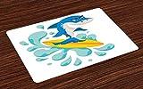 ABAKUHAUS Monta la Ola Salvamantel Set de 4 Unidades, Tiburón Divertido de la Resaca, Material Lavable Decoración para Mesa Cocina, Violeta Azul Turquesa