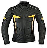 Ridex LJ-2Y Giacca da motociclista,in pelle, con protezioni CE Black & Yellow Small