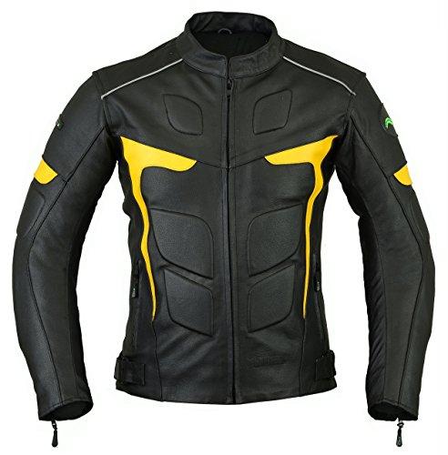 Ridex LJ-2Y Giacca da motociclista,in pelle, con protezioni CE Black & Yellow Medium