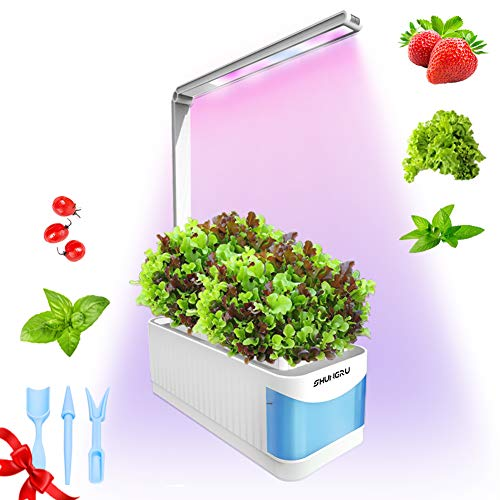 Smart Indoor Garden Kit, Mini Herb Garden Hydroponics Growing System, Led Desktop Plant Growing Light for Kids Friends,Indoor Garden Grow Lamp with 3 Mini Garden Hand Tool-Seeds Not Included(Blue)