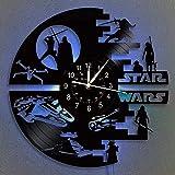 共同スターウォークロックビニールレコード壁時計12インチLED壁時計 子供と友達のための家の装飾スターウォーズギフト 吊り下げナイトランプ7色発光壁掛け時計