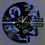 Joint Star War Clock Vinyl Record Wall Clock 12-Inch LED Wall Clock | Home Decor Star War Gifts for Kids and Friends | Hanging Night Lamp 7 Color Luminous Wall Clock