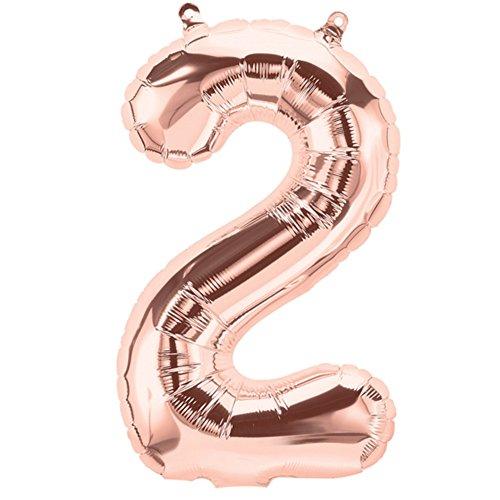 ballonfritz® Globo número 2 en oro rosa – XXL 102 cm – Globo para aire o helio como regalo de cumpleaños, aniversario, boda o graduación, decoración de fiesta o sorpresa