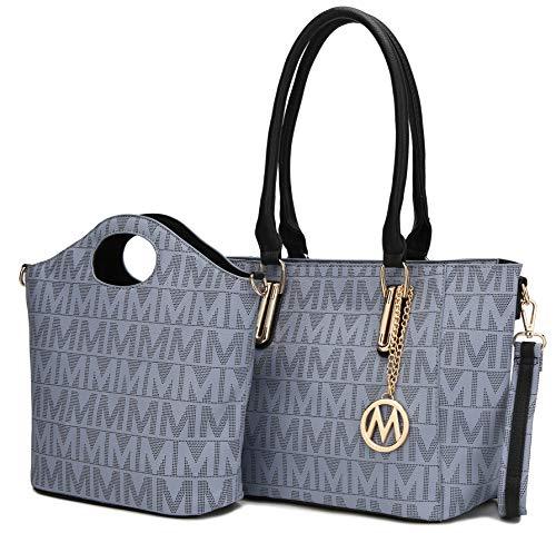 Bolsa de ombro MKF Tote, bolsa de mão feminina com alça superior de couro PU e detalhes metálicos dourados, Grey Casey, Large