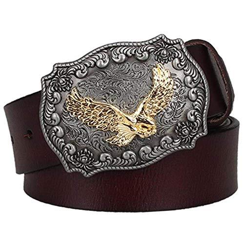 WDYDDW Cinturón Hombre Cinturón De Cuero Genuino Masculino West West Cowboy Cow Head Pin Hebilla Cinturón De Cuero De Vaca Hombres Regalo, como Se Muestra, 110Cm