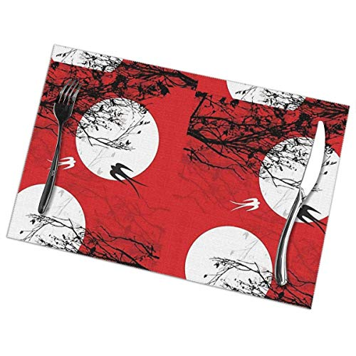 Placemats Set of 6 Washable Non Slip Stain Heat Resistant Oriental Swallows Table Place Mats 30×45 Cm for Kitchen Dining Table Decoration