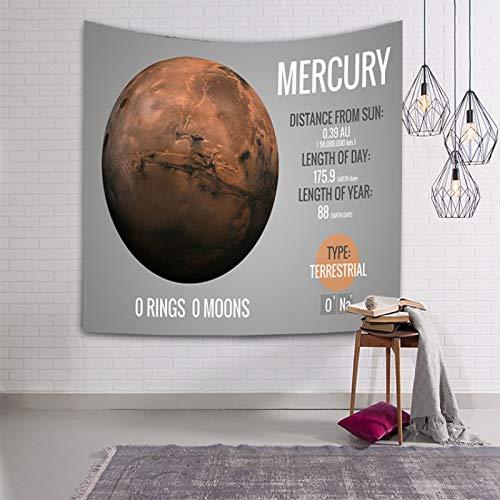 Tapiz De Pared,Indio Hippie Tapices Planeta Del Sistema Solar Mercurio En El Fondo Gris Indias Trippy Bohemia Colgante De Pared Decoración De Pared Para Dormitorio Sala De Estar Toalla De Playa,90.