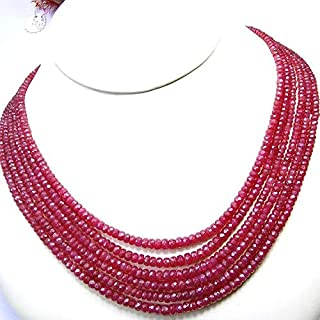 "Jewel Beads Natural Beautiful jewellery Full 16"" Strand,Superb-Finest Quality Ruby Faceted Rondelles Shape Briolettes, 3-5mmCode:- JBB-14474"