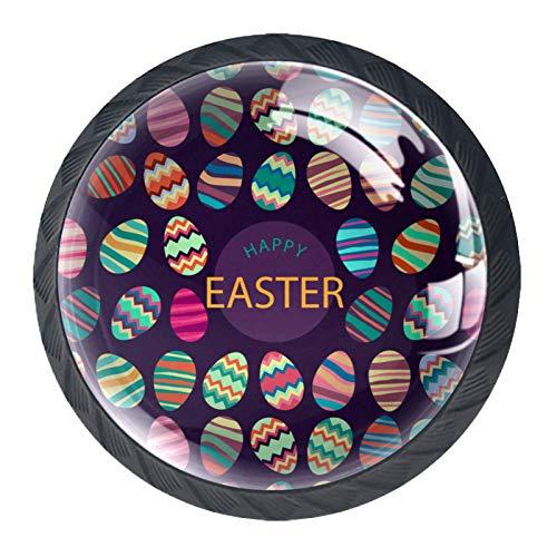4 pomos de cristal para armario de 30 mm, tiradores de cristal para cajón de armario, de cristal, para cocina, baño, huevos de Pascua, fondo oscuro