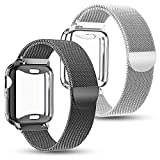 KEOLUS Compatible for Apple Watch Band with Screen Protector 38mm 40mm 42mm 44mm, Soft TPU Protective Case...