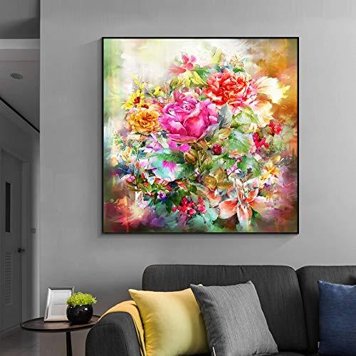 wZUN Stampa murale Fiore Acquerello Stampa Fiore Rosa su Tela Immagine Parete Soggiorno Decorazione della casa Regalo 60x60 Senza Cornice