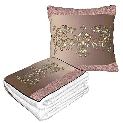 AEMAPE Manta de Almohada de Coche de Oro Rosa, Manta de sofá, Manta de Almohada de Viaje, cálida y Gruesa, Almohada de Cuello de Felpa de avión para Dormir