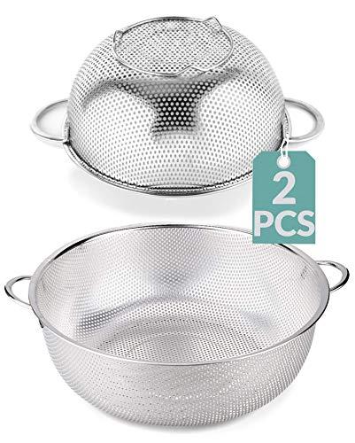 Colador de Cocina de Acero Inoxidable - 2 Unidades - Con Asas y Base - Apto para Lavavajillas - Para Pasta, Arroz, Verduras