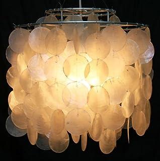 Guru-Shop Lámpara de Techo/luz de Techo, Lámpara de Concha Hecha de Cientos de Capiz, Placas de Madreperla - Modelo Dominga, Rebanadasdeconcha, 30x30x30 cm, Lámparas Colgantes de Materiales Naturales