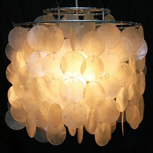 Guru-Shop Lámpara de Techo/Lámpara de Techo, Lámpara de Concha Hecha de Cientos de Capiz, Placas de Nácar - Modelo Dominga, Conchas, 30x30x30 cm, Lámparas Colgantes de Materiales Naturales