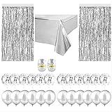YALINA Confeti Globo De Aluminio Papel De Aluminio Cortina De Seda De Lluvia para La Decoración De La Fiesta De Cumpleaños De La Boda 27PCS Plata