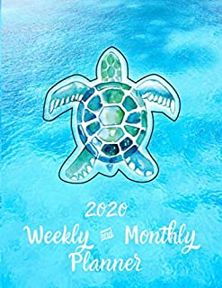 2020 Weekly and Monthly Planner: Great Novelty Gift For Turtle Lovers   A Beautifully Designed Watercolor Art Cover Featuring A Turtle Against A ... Calendar With Notes   Easy To Use Templates