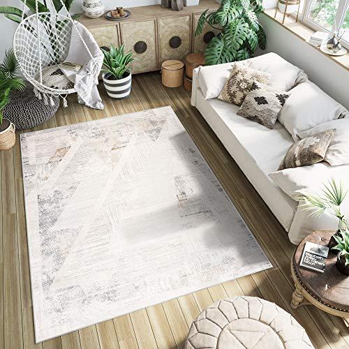 TAPISO Montreal Teppich Kurzflor Beige Hell Grau Braun Modern Vintage Design Verwischt Meliert Used Effekt Wohnzimmer Acryl ÖKOTEX 240 x 330 cm