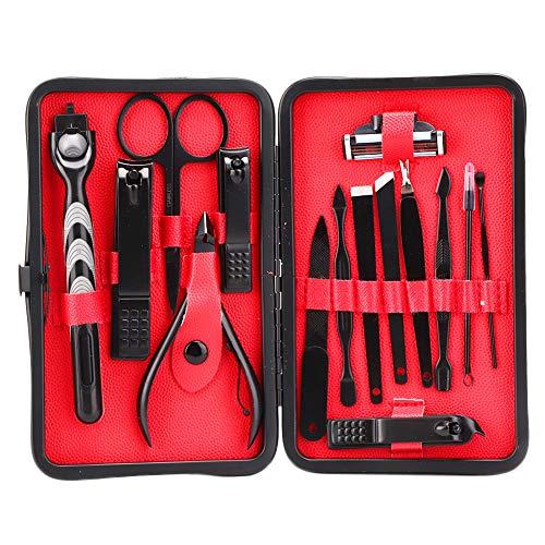 15-delige roestvrijstalen nagelverzorgingskits, manicure pedicure nagelverzorging set, nagelknipper pedicure tang kit met koffer voor persoonlijke verzorging(#1)