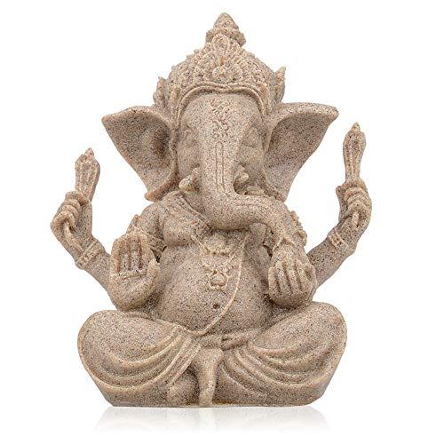 CYYKDA Handmade Ganesha Statues, Elephant Buddah Statute, Buddha Statue, Ganesh Statue, Indian Elephant Decoration for Home, Ganesha Lord of Success Blessing Decor 2.9'x2.3'x3.7' (Mini)
