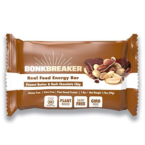 Peanut Butter & Chocolate Chip Energy Bar by Bonk Breaker - Gluten Free, Dairy Free - 1.76 Oz each- 12 Bars