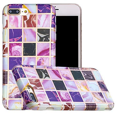 Miagon Geometric Marble Marbre Coque pour iPhone 7 Plus/8 Plus,Galvanisé Svelte Doux Souple Silicone Gel Case Bumper Cover Étui Housse pour Filles,Carré