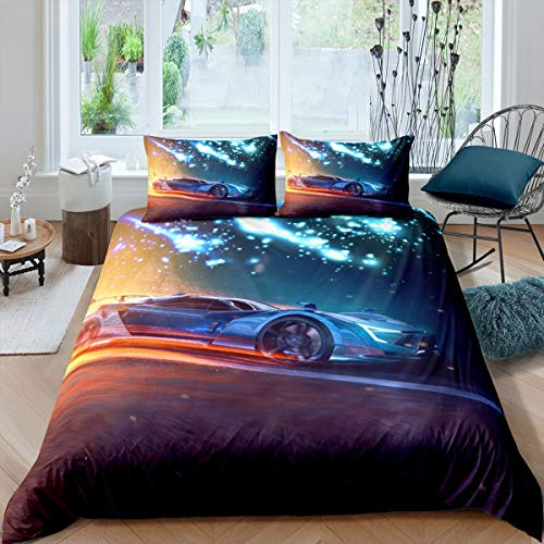 Homewish Boys Teen Sports Car Comforter Cover Super King Size Galaxy Aurora Pattern Duvet Cover, Racing Car Quilt Cover Set Extreme Sport Themed 3 Piece Bedding Set with 2 Pillow Cases