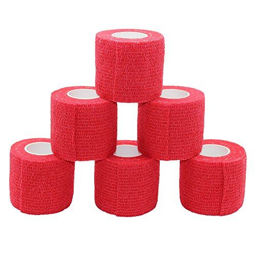 Juego de 6 rollos de cinta autoadhesiva de 5 metros, cinta cohesiva autoadhesiva, vendaje deportivo fuerte, para muñeca, tobillo, esguinces y swelling, rollos de vendaje autoadhesivos, color rojo