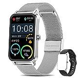 Smart Watch Damen,Yocuby Lady Smartwatch für Android/iOS,1.57' Full Touch Screen Fitness Tracker für Damen,IP68 wasserdichte Smartwatch kompatibel für iPhone Samsung Huawei (Silber)