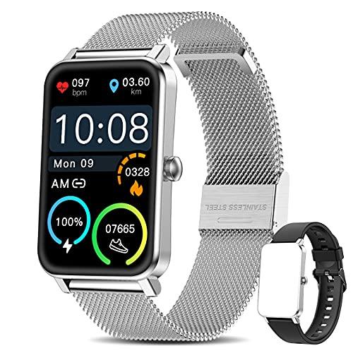 """Smart Watch Damen,Yocuby Lady Smartwatch für Android/iOS,1.57"""" Full Touch Screen Fitness Tracker für Damen,IP68 wasserdichte Smartwatch kompatibel für iPhone Samsung Huawei (Silber)"""