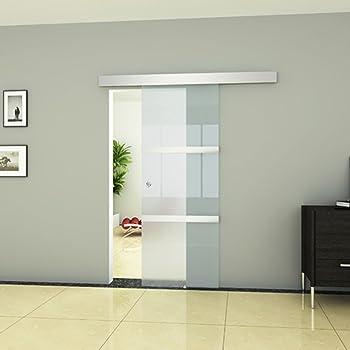 Festnight Puerta Corrediza - Material de Vidrio y Aluminio y Acero, 205x75 cm: Amazon.es: Hogar