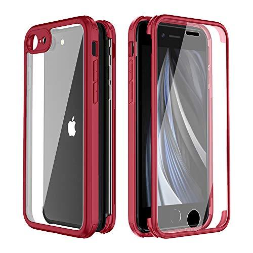 FMPCUON Funda Compatible con iPhone SE (2020), Carcasa Móvil de Protección 360° 2 en 1 Protector Caso Case Cover Cubierta, Vidrio Templado Frontal y Posterior de diseño de una Pieza, Rojo