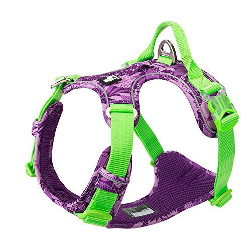 TRUE LOVE Dog Harness No Pull Nylon Reflective Soft Camouflage Pet Harness for Small Big Dogs Running Training TLH5653