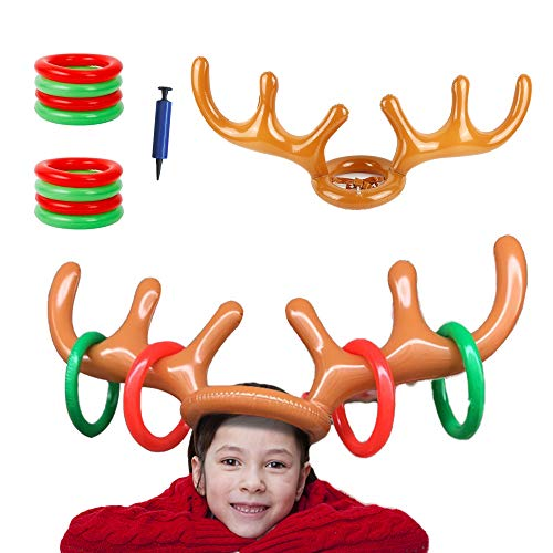 Inflatable Reindeer Antler Hat, Christmas Reindeer Toss Game Throwing Rings for Kids Adults Party Garden Gift