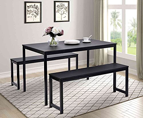 Tulib 3 Pieces Set Table with 2 Benches, Kitchen Dining Room Furniture, Modern Style Wood Mesa Top with Metal Frame (Black)