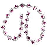 Qqmora Cadena de Costura, Diamantes de imitación de Bricolaje, Cadena de Ropa, para Mochilas de apreciación Lámparas de Mesa para decoración de Bricolaje(Rose Red Silver Bottom)