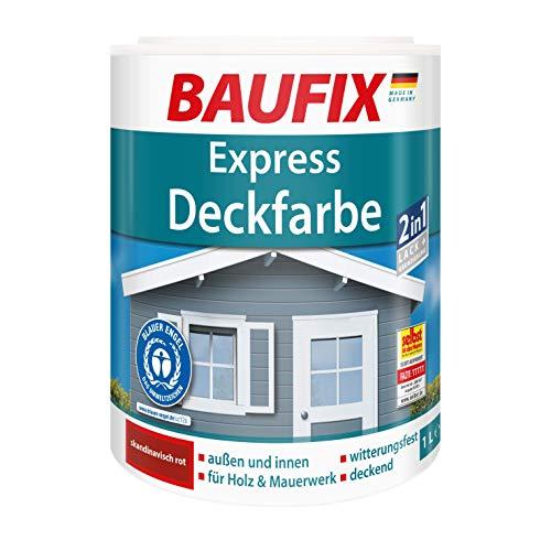 BAUFIX Express-Deckfarbe, Wetterschutzfarbe skandinavisch rot, 2.5 Liter, wetterbeständige Deckfarbe für außen und innen, geeignet für Holz, Putz, Mauerwerk, Möbel, Zäune, schnelle Trocknung