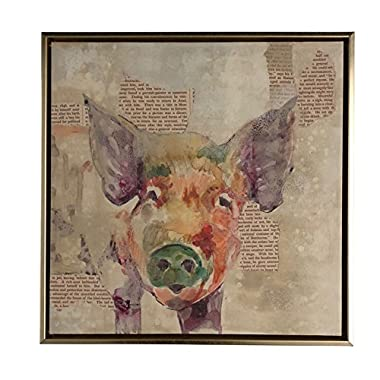 Boston Warehouse Hand Embellished Canvas Art, Newsprint Collage with Pig, 14  x14