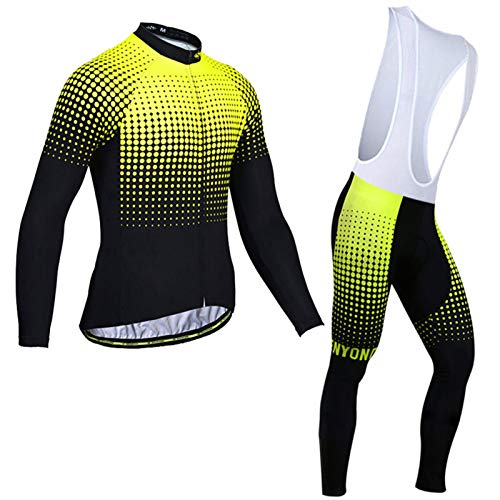 Mikelabo Men's Cycling Suit Long Sleeve Tops MTB Bike Leggings Cycling Set 3D Padded Pants Trousers Cycling Jersey Windproof Cycling Clothing Set for Outdoor Sport Cycling Biking