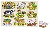 Goki-57895 Puzzles de Madera Encaje, Sonidos Animales, Granja, (57895)