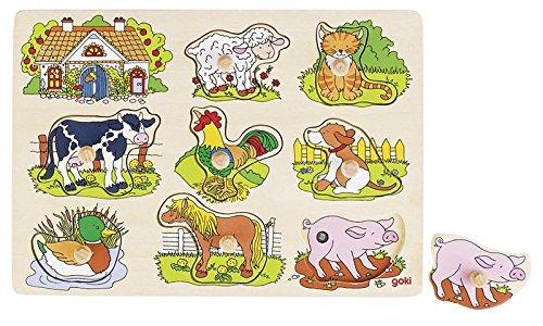 Goki 57895 - steekpuzzel - dierenstemmen boerderij