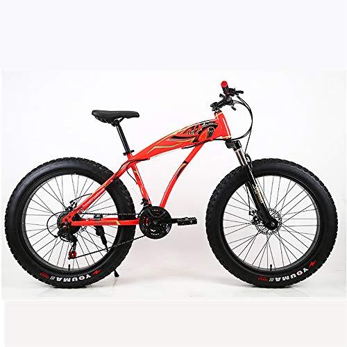 WYFDM Bicicleta, Bicicleta de Nieve de 26 Pulgadas Freno de Dos Discos 4.0 Neumáticos Cuadro de Fibra de Carbono de Bicicleta de montaña y Bicicleta de Carretera para Bicicleta de Carretera,Red