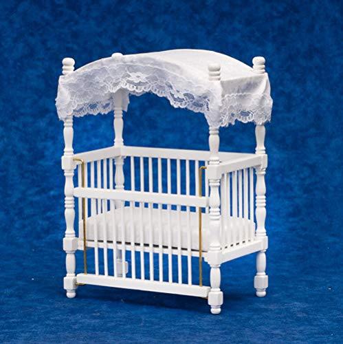 Melody Jane Miniatura para Casa de Muñecas Bebe, Cuna de Madera Blanca
