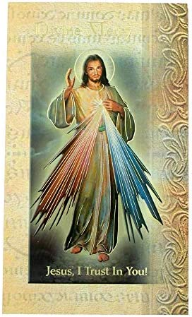 William J Hirten Deluxe Catholic Holy Card with Traditional Prayers Divine Mercy product image