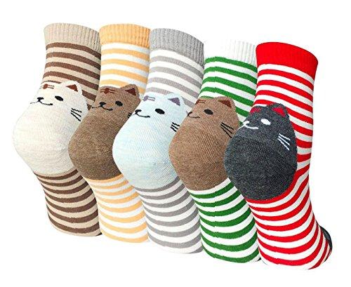 TEENLOVEME Damen Socken aus Baumwolle Witzige Socken Karikatur Tier Socken Niedliche Tiere Socken Bunt Muster Socken