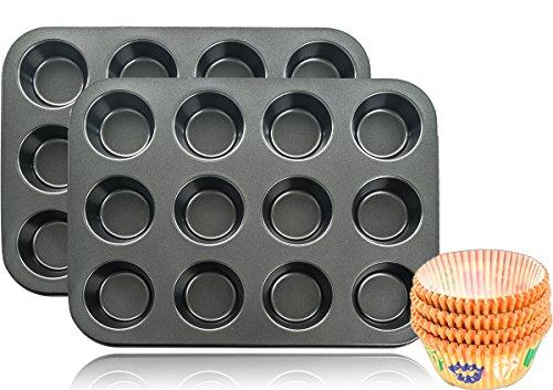 mixed24 2X 12er Backblech Backform Muffinform für insgesamt 24 Muffins + 100 Papierförmchen GRATIS
