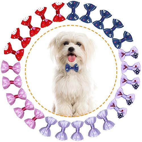HQdeal 50Pcs Lazos para el Cabello de Perros con Bandas de Goma,Mascotas Lazos Multicolores para el Cabello, para pequeño Animal Perro Gato Gatito Puppy