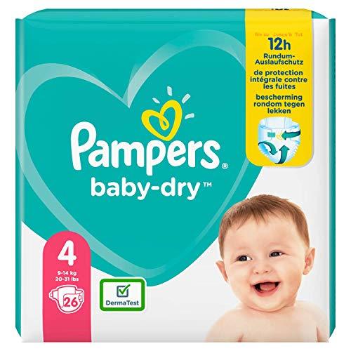 Pampers Baby Dry Größe 4 Windeln 26, bis zu 12 Stunden Schutz, 9-14kg