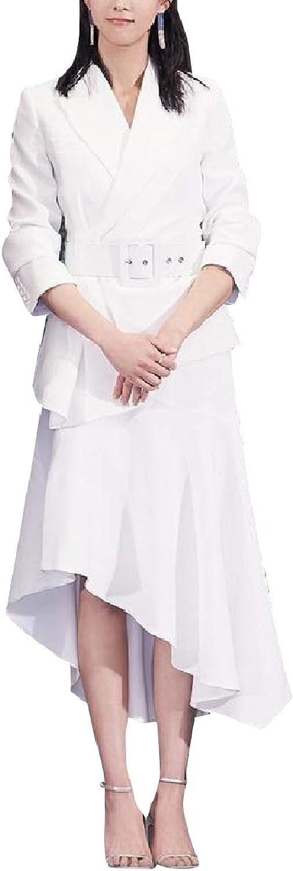 Baseby Womens Blazer Formal Belted Design Premium Classy Skirt Suit Set